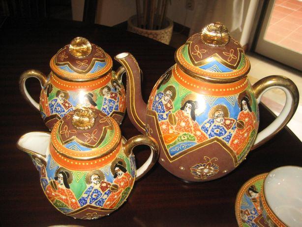 Serviço raro déc1910, chá+café antiga porcelana japonesa,pintado à mão