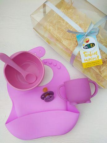 Силиконовая тарелка на присоске, набор силиконовой посуды для детей