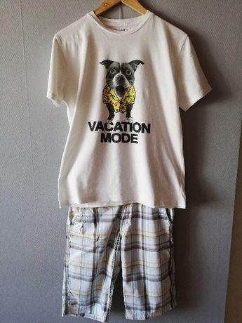 T-shirt bluzka koszulka ZARA 152 11/12L polo krótki rękaw nadruk ecru