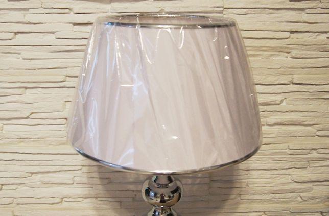 Klosz Abażur do lampy biały z ramką chromowaną