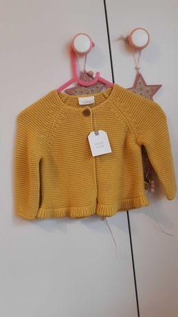 Kardigan/sweter NEXT musztardowy 74 cm Nowy