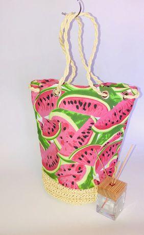 Сумка женская, сумка плетенная, сумка летняя, сумка пляжная. + подарок