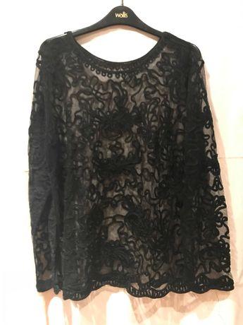Modna stylowa bluzka czarny tiul haft R. XL / 42