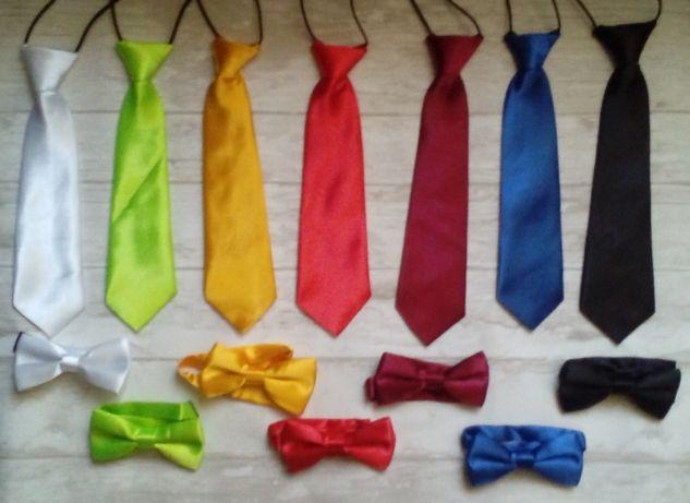 Krawat mucha muszka nowe komplet różne kolory 0-16lat