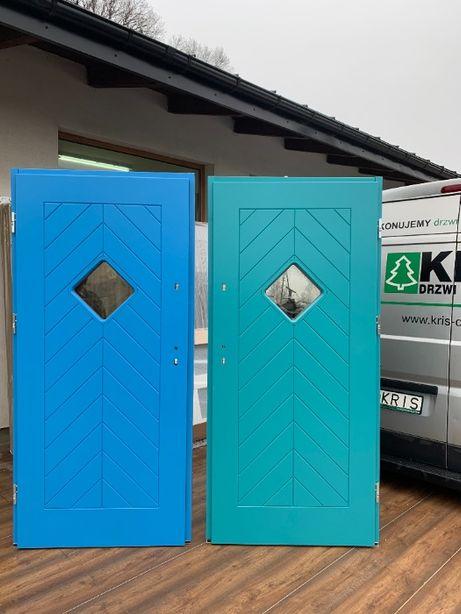 Drzwi zewnętrzne drewniane,niebieskie,turkusowe,żółte,zielone 7,5 mm