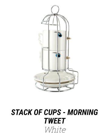 Filiżanki nowe Pylones morning tweet, prezent, zestaw kawowy, białe
