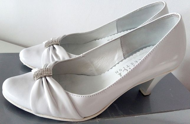 Buty damskie czółenka szpilki białe biel 35 36 37 skóra ślub wesele