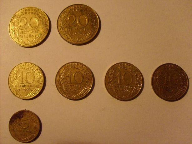 moneta monety Francja 5 10 20 Centimes