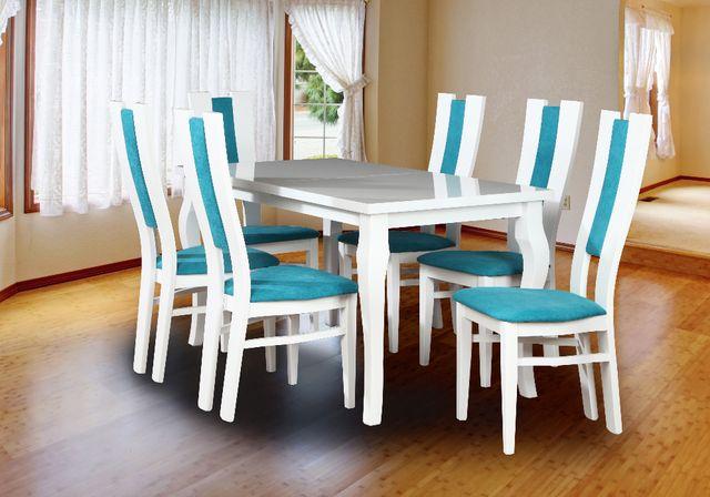Piękny Zestaw Biały Połysk! Stół rozkładany 6 Krzeseł Super cena!