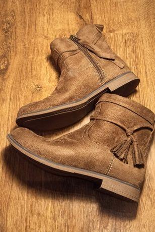 buty zimowe, przejściowe dla dziewczyny, kozaki, r.: 33, wkładka: 21.5