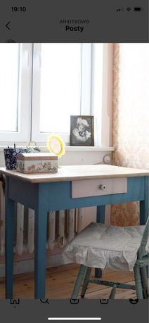 Stary stol drewniany stolik biurko, z szuflada
