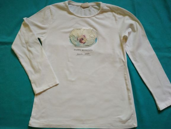 biała bluzka ZARA z aplikacją akwarium r.140