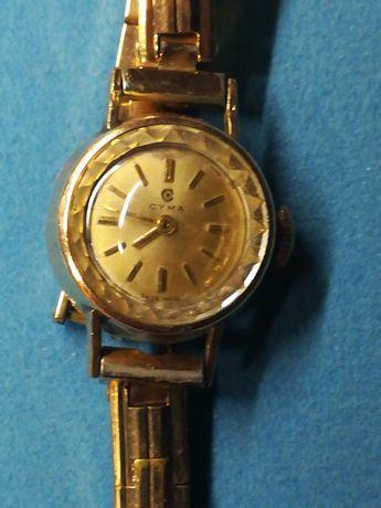 Relógio Cyma Swiss made ouro 40 micron