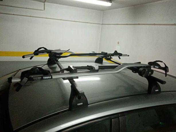 Barras de tejadilho + 2 suporte Thule para Bicicleta ( conjunto)