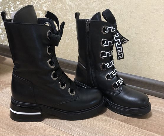 Сапоги ботинки зимние кожа 38 р