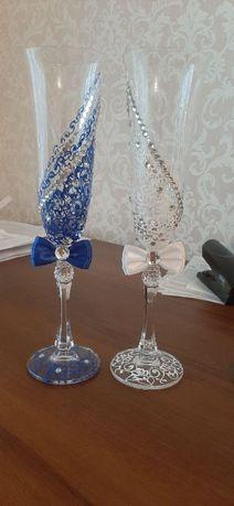 """Свадебные бокалы """"Две половинки одного целого"""" белого и синего цвета"""