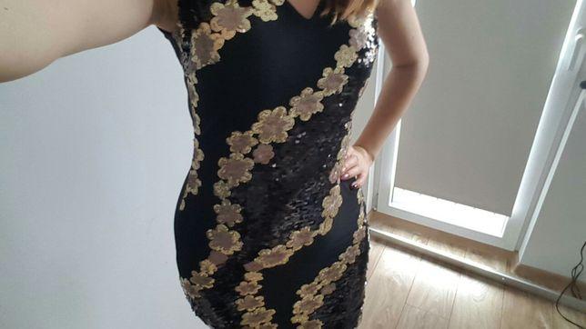 Mała czarna sukienka, cekinowa, sylwester