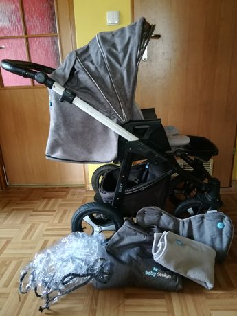 Zimowy wózek Husky Baby Design mnóstwo dodatków torba mufka Podkład