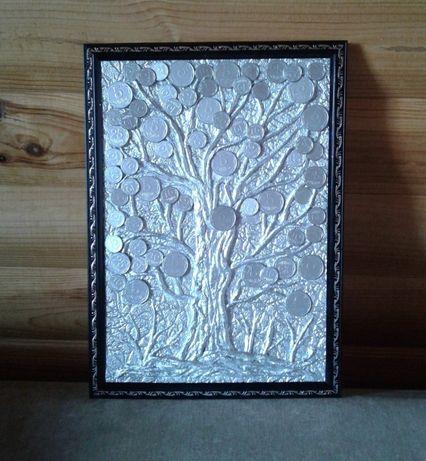 Картина денежное дерево серебристая