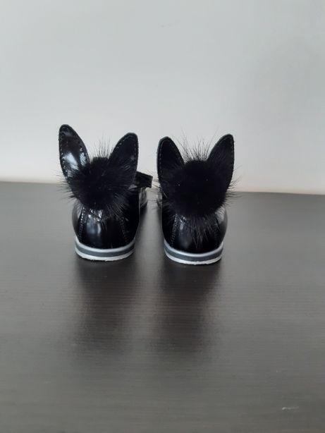 Baleriny Bartek z uszami królika r. 31, czarne lakierowane