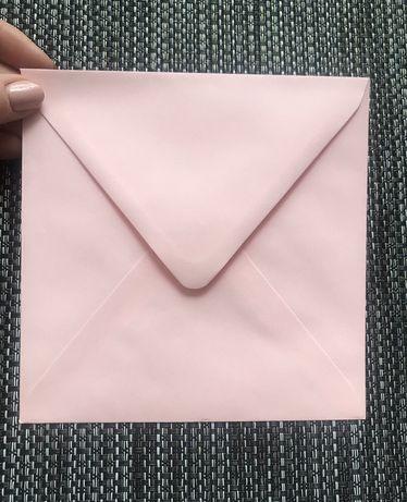 Koperty kwadratowe różowe na zaproszenia ślubne 250 szt.