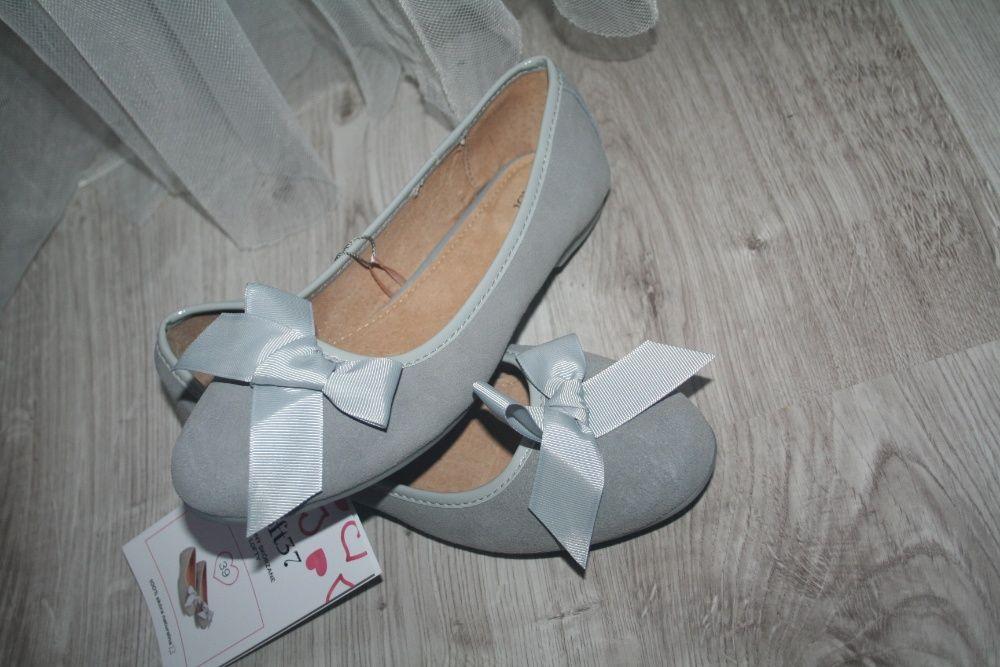 Skórzane buty baleriny 39 loft kokardki Dębica - image 1