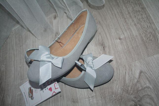 Skórzane buty baleriny 39 loft kokardki