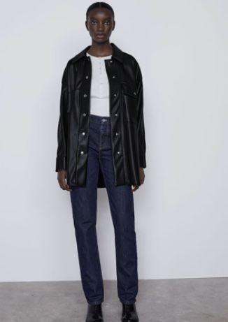 casaco camisa de couro nova preta
