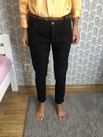 Штаны капри черные брюки H&M школьные штаны летние
