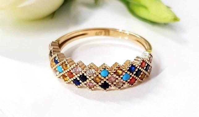 Złoty pierścionek szeroka obrączka z kolorowymi cyrkoniami pr. 333 8k
