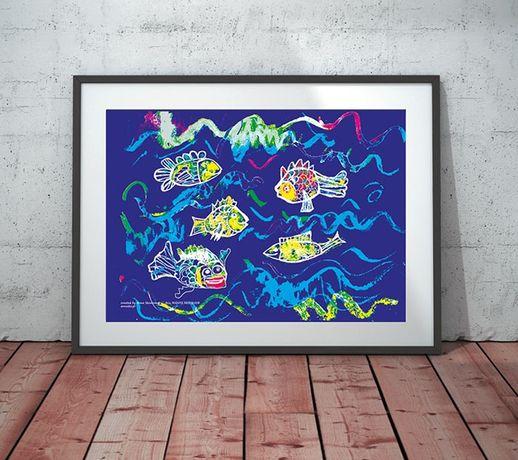 granatowy plakat dla dzieci, rybki plakat A4, ryby obrazek 21x30
