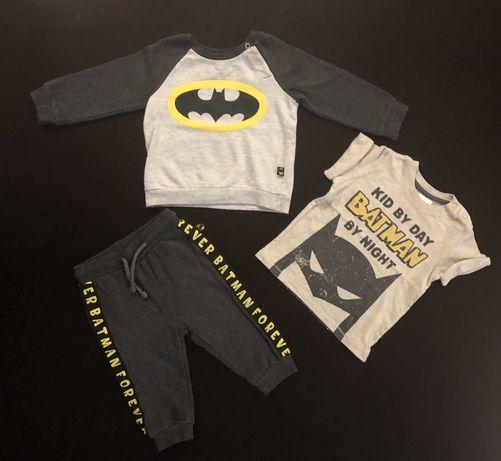 Dres Batman r. 74 - bluza, bluzka i spodnie