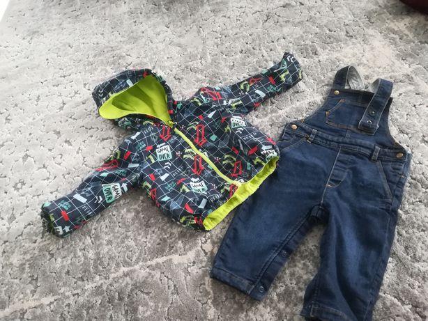 Zestaw dla chłopca: ogrodniczki Mark & Spencer, dwustronna kurtka 5-10