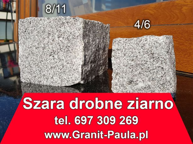 Strzegomska kostka granitowa szara drobnoziarnista 4/6 i 8/11 -brukowa