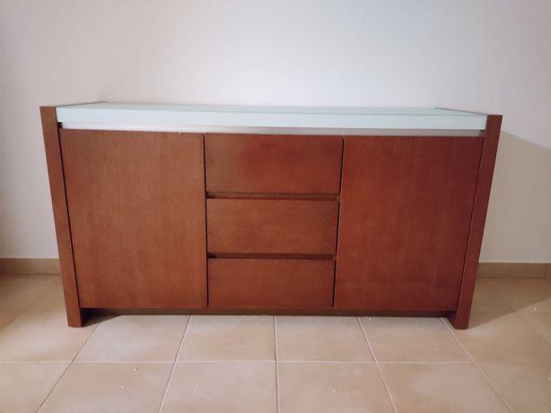 Cómoda de sala ou quarto Nova de Madeira Maciça, inclui Mesa de sala