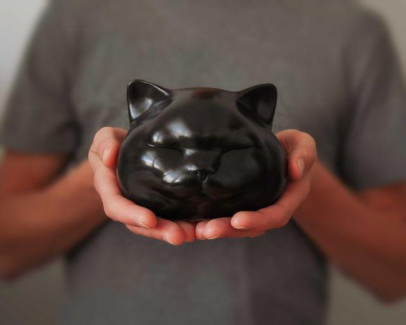 Czarna Figurka Kota, Rzeźba Kota, Dekoracja Wnętrz