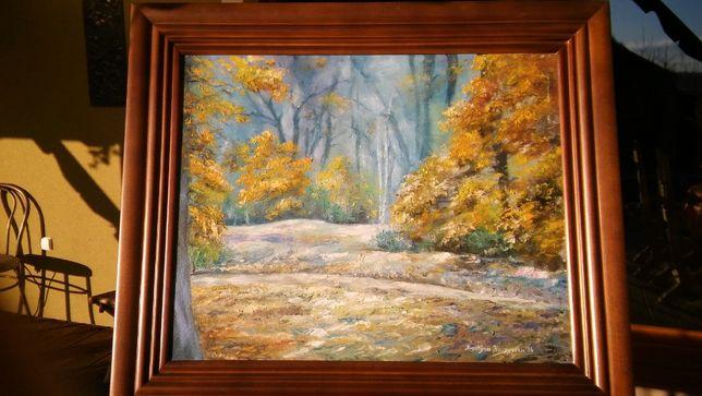 """obraz olejny w drewnianej ramie """"park"""""""