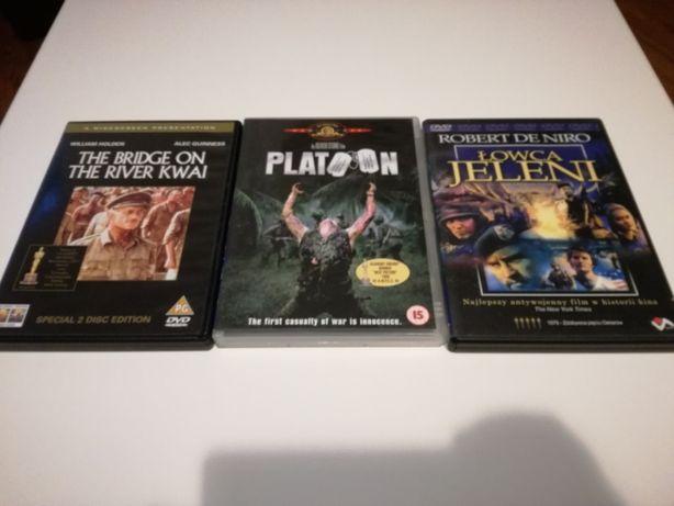 3 filmy DVD Pluton Most na rzece Kwai Łowca jeleni