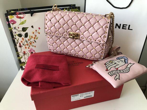 Valentino studded torebka pikowana złote ćwieki pudrowy róż pudełko