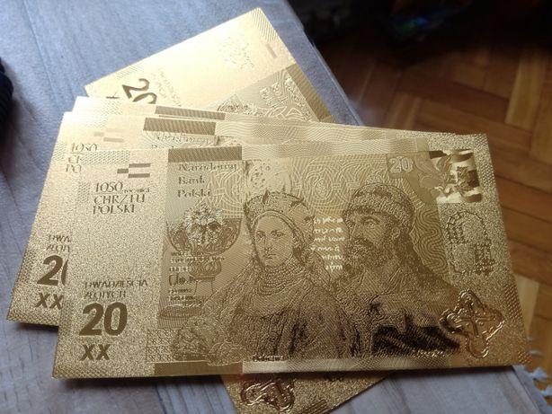 20 zł - Chrzest Polski - złocony banknot kolekcjonerski. Cudo! Taniej.