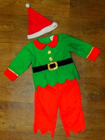 карнавальный костюм 12-18 мес Эльф 86 размер мальчику новогодний