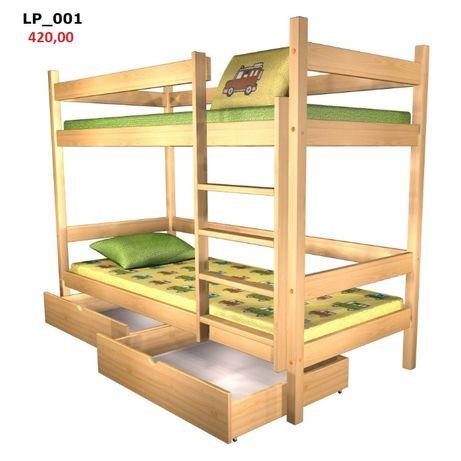 Drewniane solidne ECO łóżka dwuosobowe, piętrowe, pracownicze