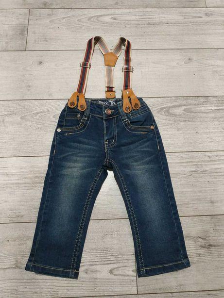 Spodnie dżinsowe z szelkami r.80-86