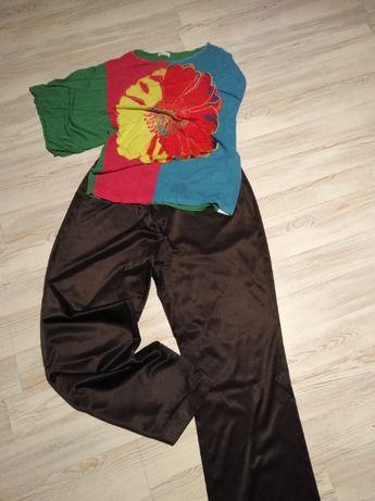 Spodnie solar plus bluzka solar z motywem kwiat styl boho