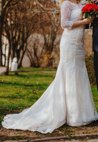 Suknia ślubna roz 36-40 ivory śmietanka Sincerity syrenka tren+bolerko