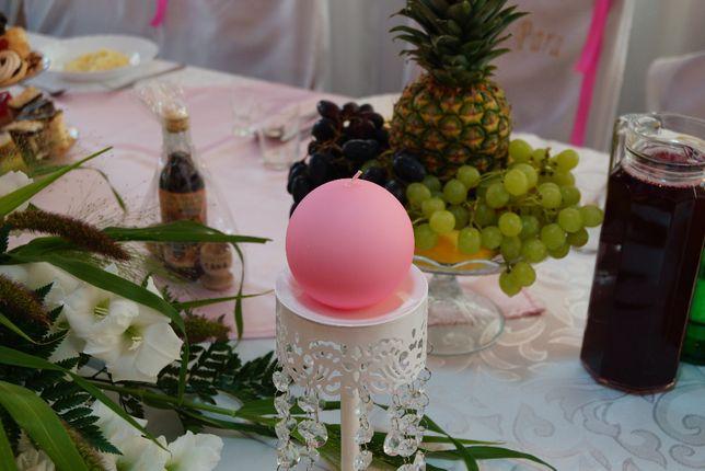 Świecznik metalowy ze zwisającymi kamykami wesele ślub