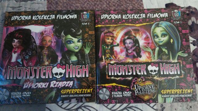 MONSTER HIGH Upiorne połączenie i Upiorki rządzą DVD + książki NOWE