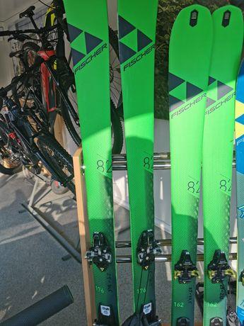 Narty skiturowe FISCHER 162cm + foki + wiązania