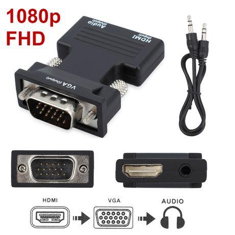 HDMI -> VGA Conversor com Saída Audio - Suporta HDCP 1 e 2
