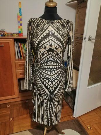 Nowa pięknie zdobiona sukienka rozmiar 34